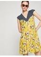 Koton V Yaka Çiçekli Elbise Sarı